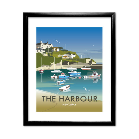 The Harbour, Newquay 11x14 Framed Print (Black)
