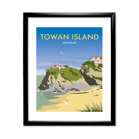 Towan Island, Newquay 11x14 Framed Print (Black)