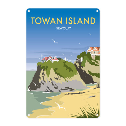 Towan Island, Newquay Metal Sign