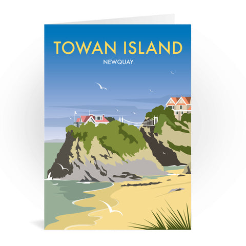 Towan Island, Newquay Greeting Card 7x5