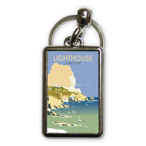 Lizard Point Lighthouse, Cornwall Metal Keyring
