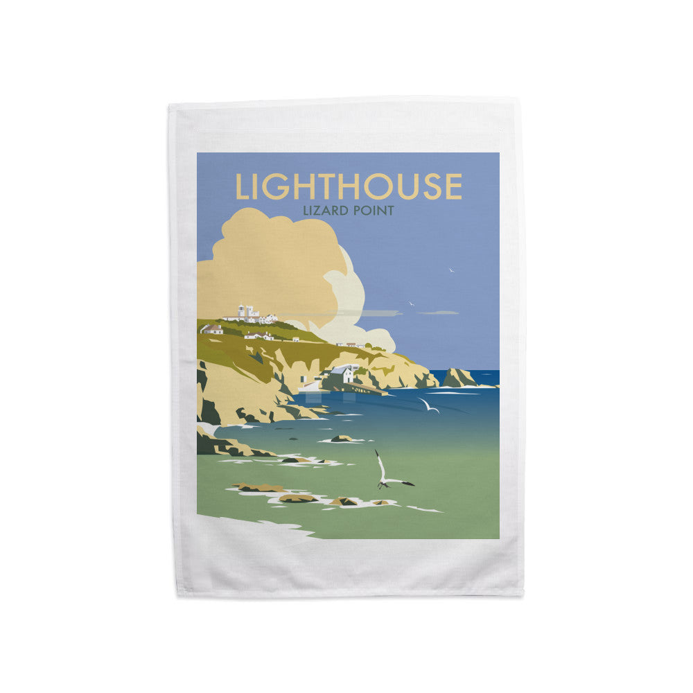Lizard Point Lighthouse, Cornwall Tea Towel