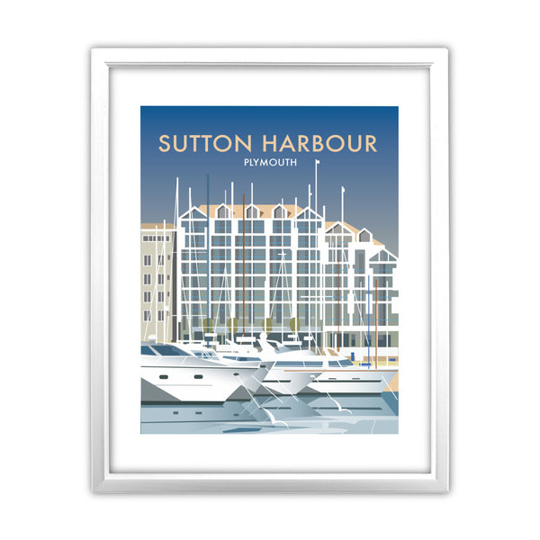 Sutton Harbour, Plymouth 11x14 Framed Print (White)