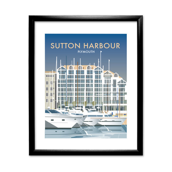 Sutton Harbour, Plymouth 11x14 Framed Print (Black)