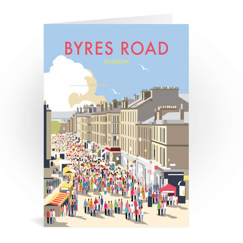 Byres Road, Glasgow Greeting Card 7x5