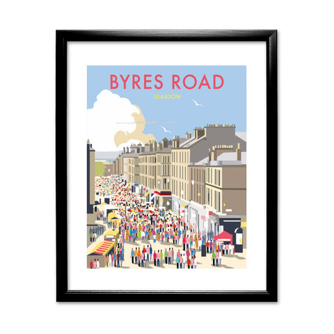 Byres Road, Glasgow 11x14 Framed Print (Black)