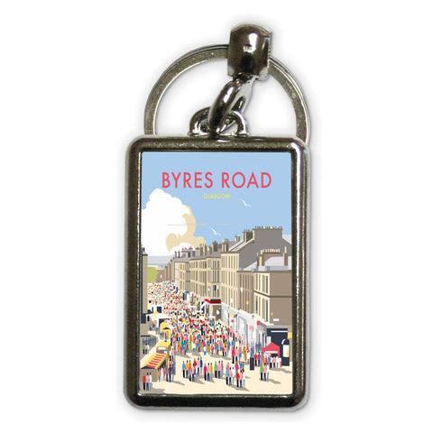 Byres Road, Glasgow Metal Keyring