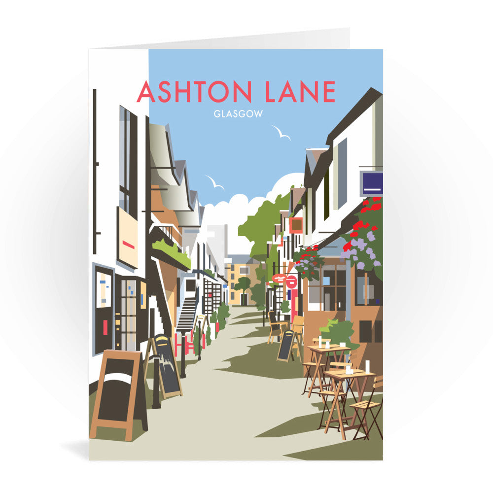 Ashton Lane, Glasgow Greeting Card 7x5