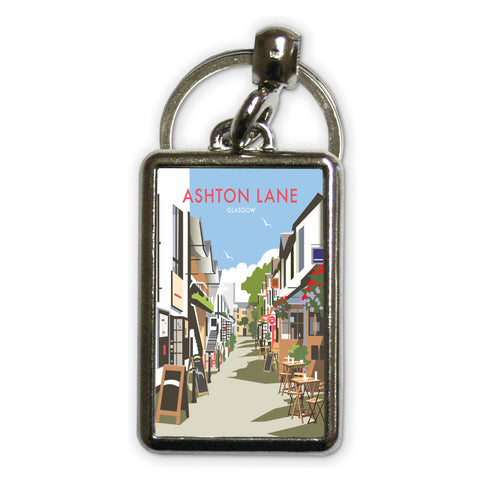 Ashton Lane, Glasgow Metal Keyring
