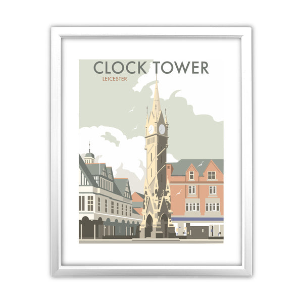 Clock Tower, Leicester 11x14 Framed Print (White)