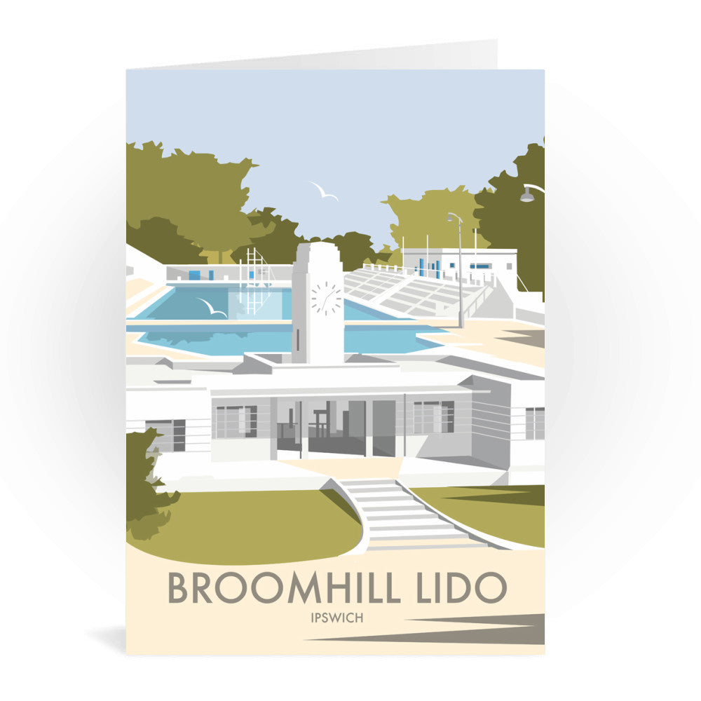 Broomhill Lido, Ipswich Greeting Card 7x5