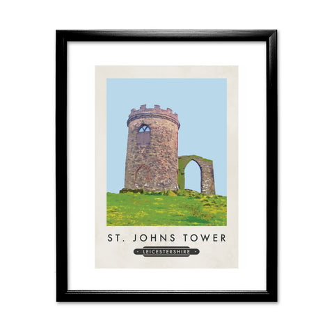 St Johns Tower, Leicestershire 11x14 Framed Print (Black)