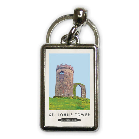 St Johns Tower, Leicestershire Metal Keyring