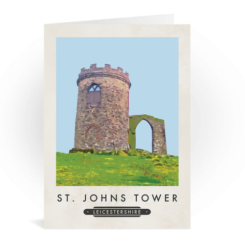 St Johns Tower, Leicestershire Greeting Card 7x5