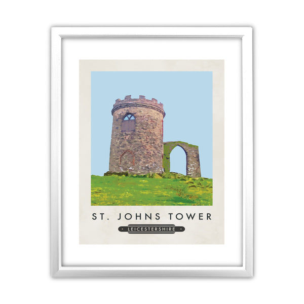 St Johns Tower, Leicestershire 11x14 Framed Print (White)