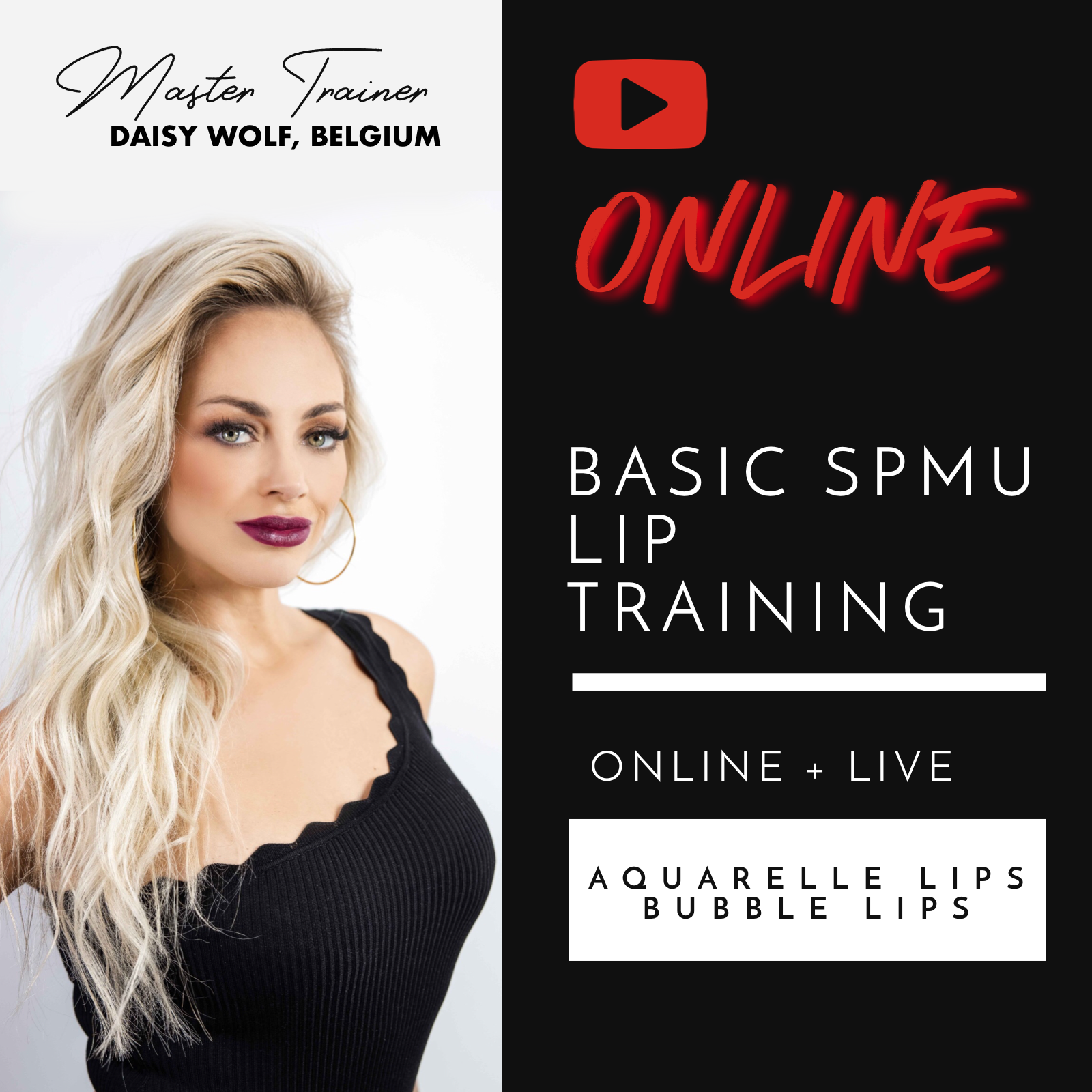 ONLINE BASIC / BEGINNER SPMU LIP PIGMENTATION - AQUARELLE & BUBBLE LIPS