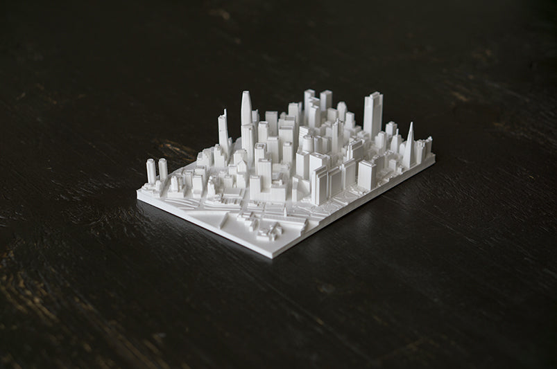 San Francisco City Skyline / Downtown 3D Printed - WHITE
