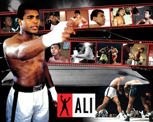 A print that features various important moments of Ali's life in the background.