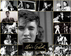 A collage of Elvis performing and winking at the viewer.