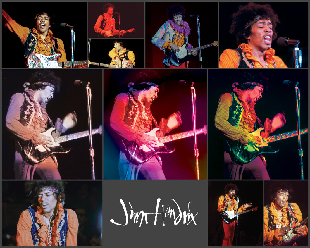 A collage of Jimi Hendrix performing on stage.