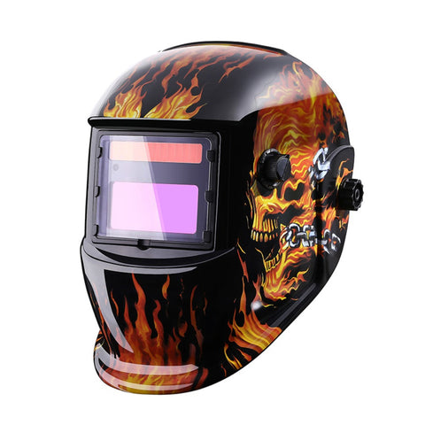 FLAMING SKULL AUTO-DARKENING WELDING HELMET