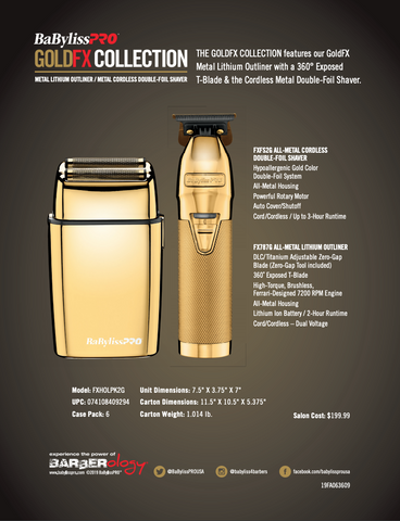 BaByliss Pro  BABYLISS PRO GOLD FX COLLECTION - GOLD METAL LITHIUM OUTLINER & GOLD METAL CORDLESS DOUBLE FOIL SHAVER #FXHOLPK2G