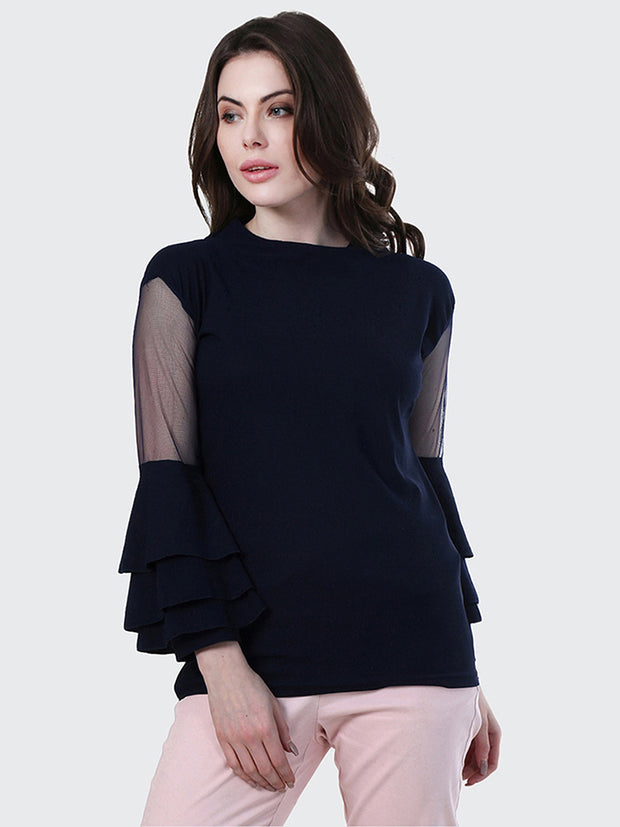 Navy Crepe Frill Top-1874