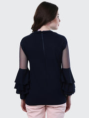 Black Crepe Frill Top-1875