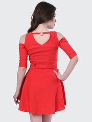 Red Shoulder-Cut Cotton Lycra Short Party Dress-1908