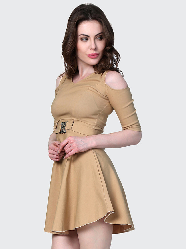 Beige Shoulder-Cut Cotton Lycra Short Party Dress-1907