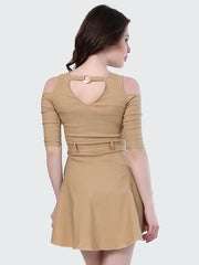 beige shoulder cut thigh length dress