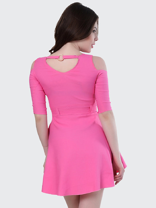 Light Pink Shoulder-Cut Cotton Lycra Short Party Dress-1906
