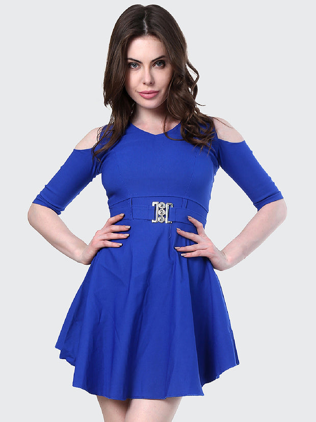 Royal Shoulder-Cut Cotton Lycra Short Party Dress-1905