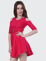 Pink Shoulder-Cut Cotton Lycra Short Party Dress-1904