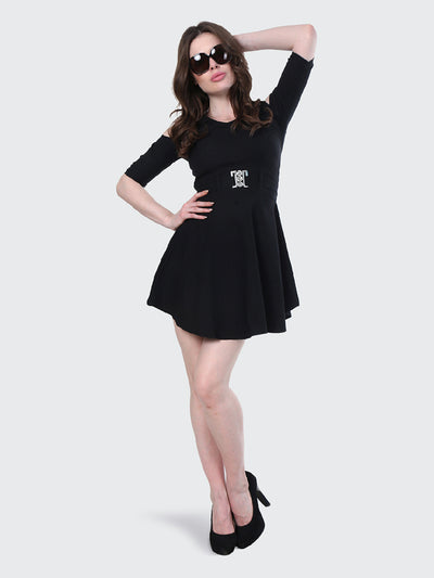 Black Shoulder-Cut Cotton Lycra Short Party Dress-1903