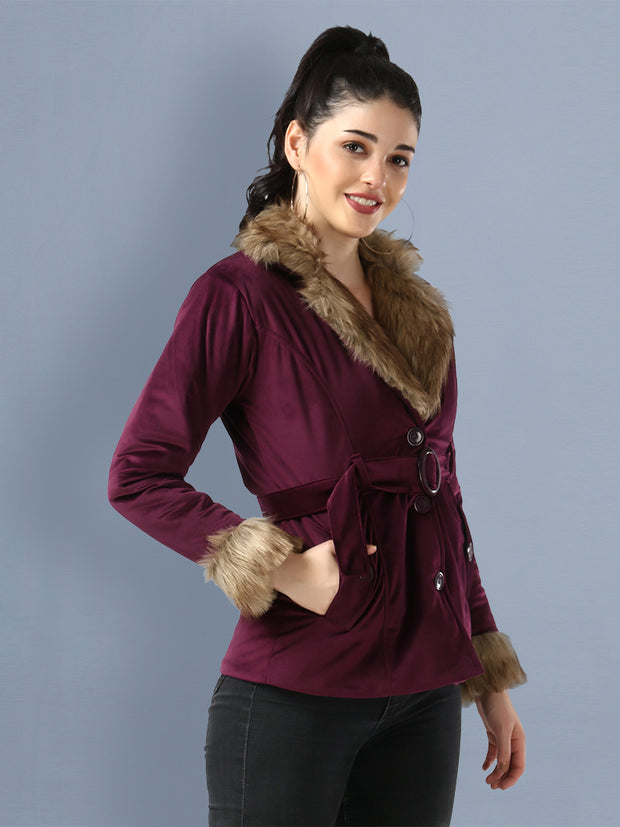 Purple Imported Velvet Fur Collar Women Winter Jacket-2481