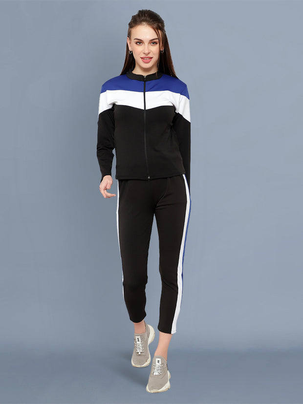 Black Blue and White Striped Imported Lycra Women Tracksuit-2531