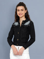 Black Pearl Embellished Denim Jacket For Women-2540