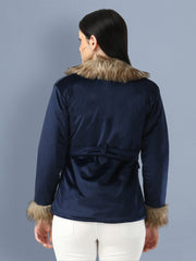 Navy Imported Velvet Fur Collar Women Winter Jacket-2480
