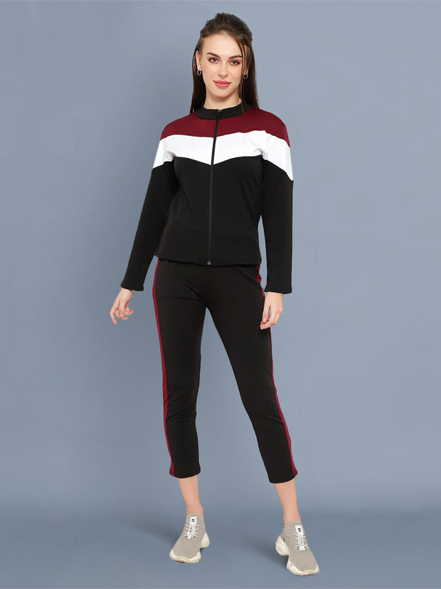 Black Maroon and White Striped Imported Lycra Women Tracksuit-2532