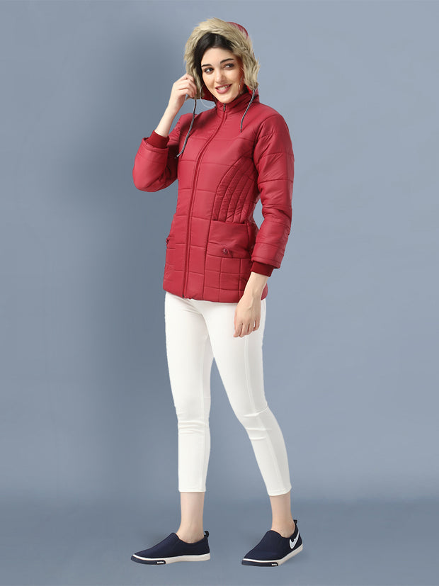 Maroon Full Sleeve Nylon Fur Hoodie Women Winter Jacket-2484