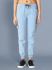 Denim Light Blue Side Pocket Ripped Jogger Jeans-2470