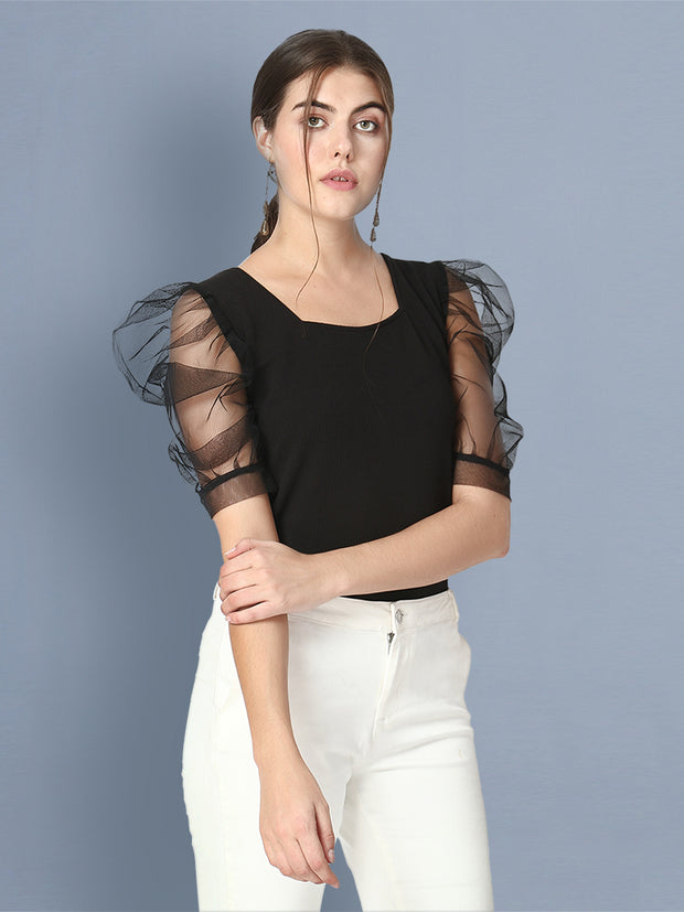 Black Half Sleeve Carrera Plain Net Top-2477