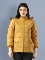 Yellow Full Sleeve Nylon Fur Hoodie Women Winter Jacket-2487