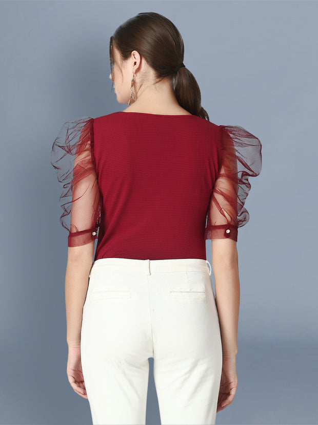 Maroon Half Sleeve Carrera Plain Net Top-2476