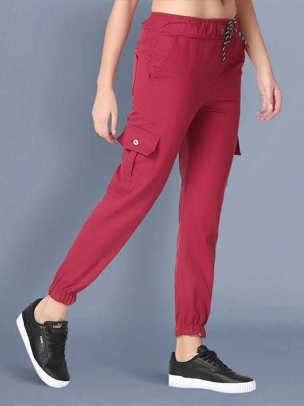 Skinny Maroon Side Pocket Twil Pencil Jogger Jeans-2474
