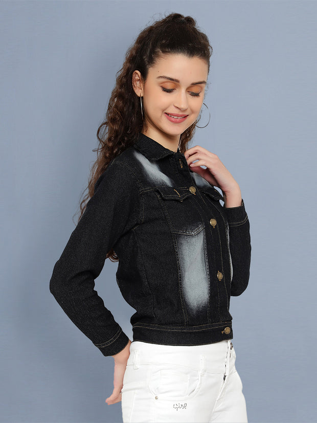 Black Solid Casual Denim Jacket-2541