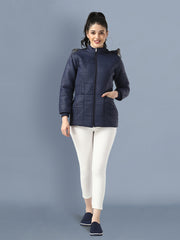 Navy Full Sleeve Nylon Fur Hoodie Women Winter Jacket-2486