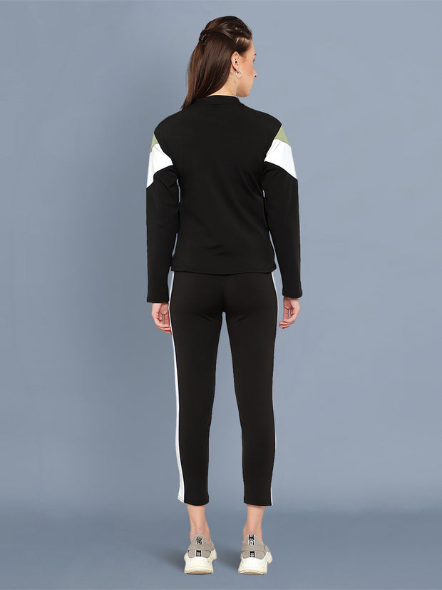 Black Green and White Striped Imported Lycra Women Tracksuit-2534