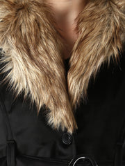 Black Imported Velvet Fur Collar Women Winter Jacket-2479